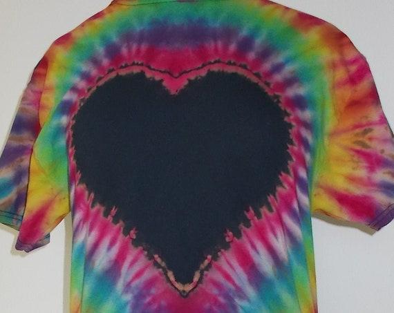 Medium Reverse dyed Heart, tie dye heart