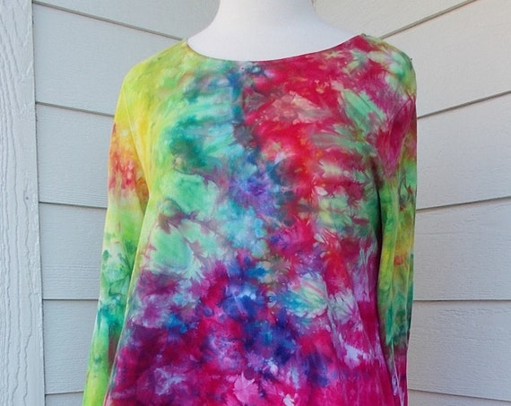 Women's  Long Sleeve Hanky-hem Ice dye tie dye Cotton Shirt