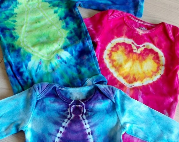 Ice-Dyed tie dyed Onesies 3-6 mths