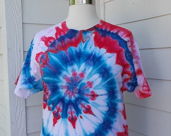 XLarge Ice-Dyed Tie Dyed Tshirt, RWB, 4th July Spiral