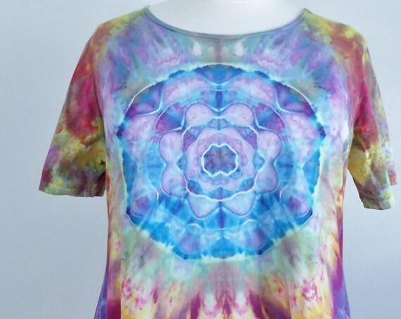 Women's  2XL Short Sleeve Hanky-hem Ice dye tie dye Cotton Tunic