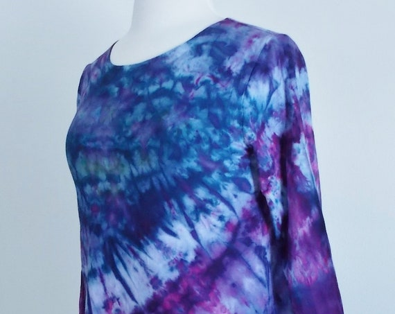 Small Hanky-hem tunic Ice dye tie dye Women's  Long Sleeve Cotton Shirt