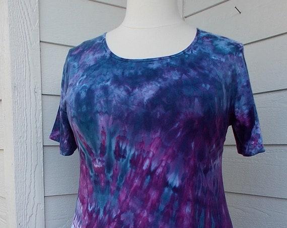 Women's  XL Short Sleeve Hanky-hem Ice dye tie dye Cotton Tunic