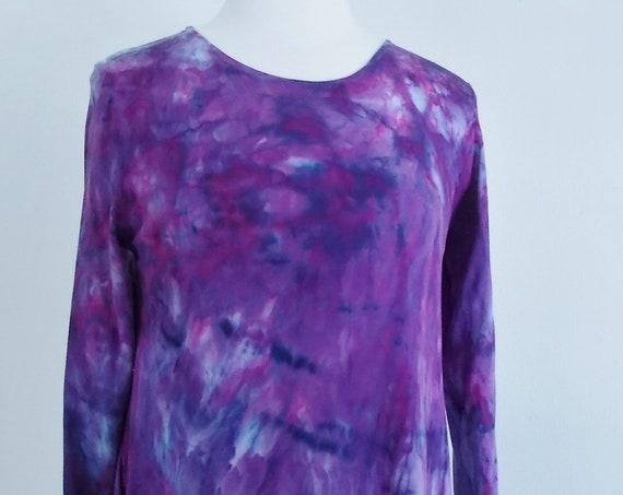 Medium Hanky-hem tunic Ice dye tie dye Women's  Long Sleeve Cotton Shirt