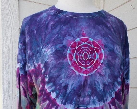 Ice-dyed Long Sleeve Unisex TShirt, Large