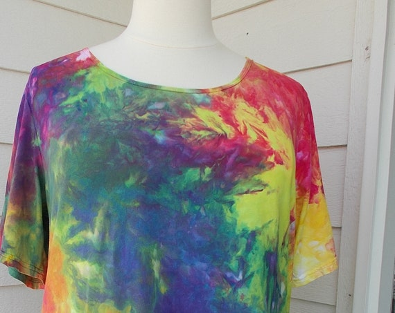 Women's  3XL Short Sleeve Hanky-hem Ice dye tie dye Cotton Tunic