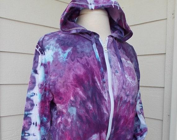 Ladies 16 Lightweight Tie Dye Ice Dye Cotton Zip Hoodie 1X