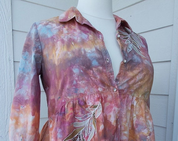 Large Ice-Dyed Tie Dyed Cotton Blouse