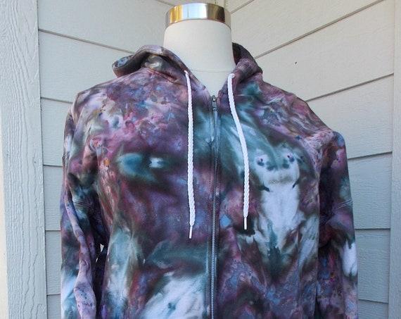 X-Large Ice Dye Tie Dye Zip Hoodie