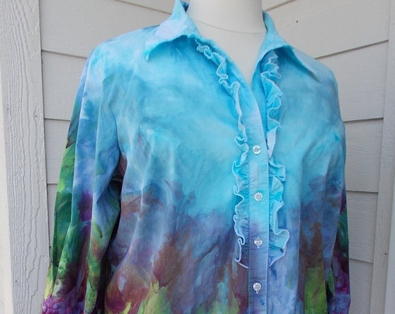 2X Ice-Dyed Tie Dyed Cotton Blouse