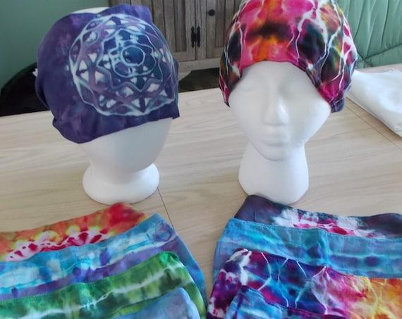 Tie Dye Gypsy Headband, Tie dye bandana headband, Hand Sewn Gypsy Headband