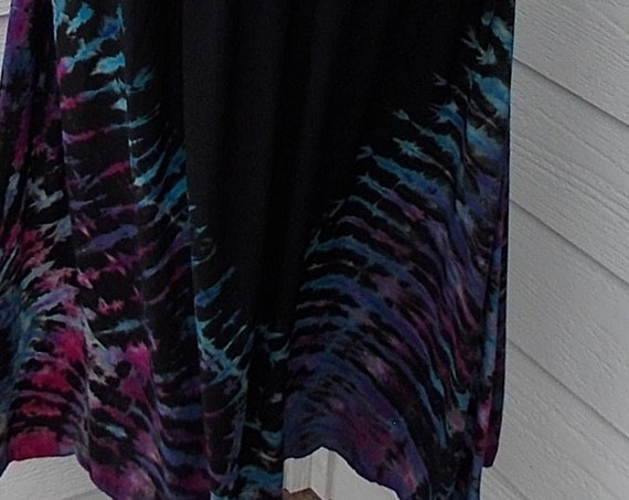S/M Discharged Black Rayon Skirts, Overdyed, Bleach dye skirt, tie dye skirt, discharge dye bleach dye