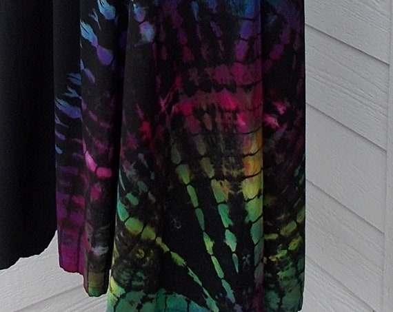 L/XL Discharged Black Rayon Skirts, Overdyed, Bleach dye skirt, tie dye skirt, discharge dye bleach dye