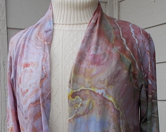 MEDIUM Long Sleeve Tie Dyed Open Front Cotton Jacket, Long Cardigan, Tie Dyed Jacket, Tie Dyed Cardigan