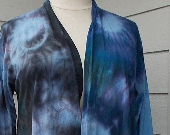 XL Long Sleeve Tie Dyed Open Front Cotton Jacket, Long Cardigan, Tie Dyed Jacket, Tie Dyed Cardigan