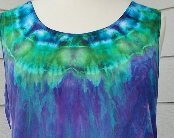 2XL Hi-Lo Cotton Jersey Tank Dress Ice Dyed Tie Dyed