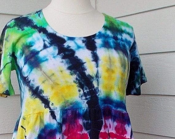 XL Farmer Dress with Pockets tie-dyed ice-dyed