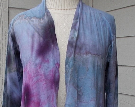 SMALL Long Sleeve Tie Dyed Open Front Cotton Jacket, Long Cardigan, Tie Dyed Jacket, Tie Dyed Cardigan