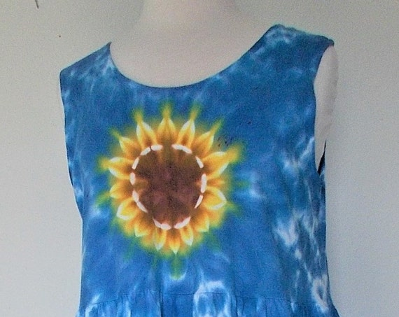 Large Sleeveless Farmer Dress with Pockets tie-dyed  Sunflower