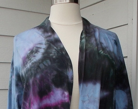 3XL Long Sleeve Tie Dyed Open Front Cotton Jacket, Long Cardigan, Tie Dyed Jacket, Tie Dyed Cardigan