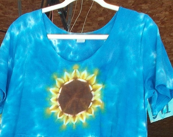 Short Sleeves Farmer Dress with Pockets tie-dyed  Sunflower