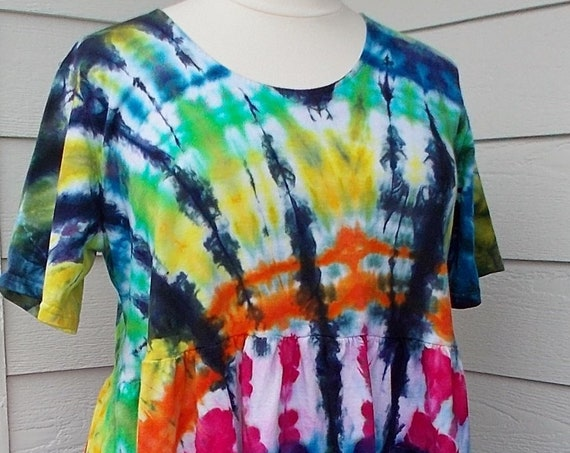 3X Farmer Dress with Pockets tie-dyed ice-dyed