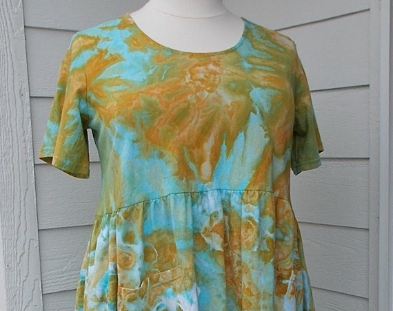 2X Farmer Dress with Pockets tie-dyed ice-dyed