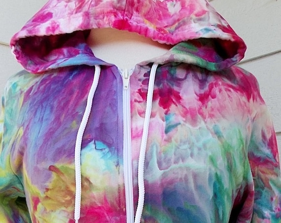 Ice-dyed All Cotton Zip Hoodie, Small