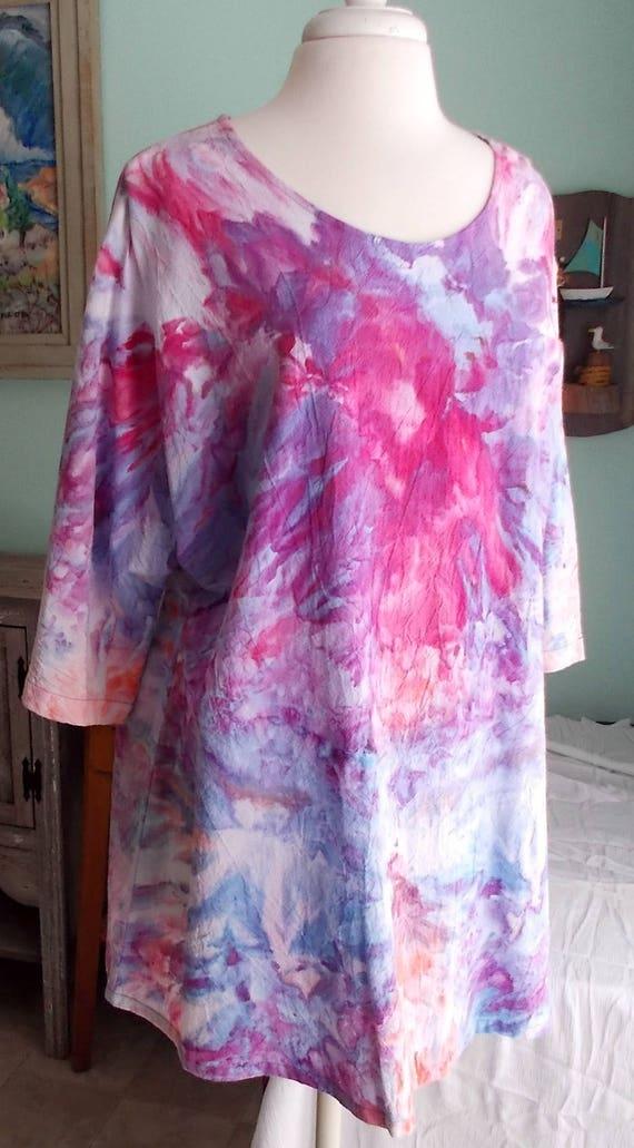 Shark bite tunic ice dye cotton tunic tie dye tunic sewn by the maker