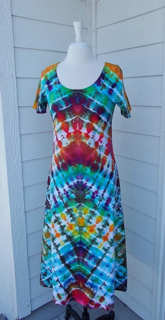 Ice dye tie dye Cotton Dress Medium short sleeve Multi