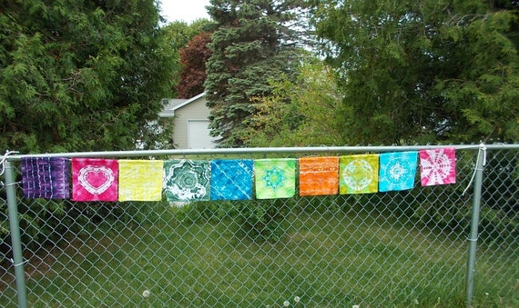 Tie Dye Prayer Flags, Ice Dyed Prayer Flags, Tie Dyed Banner, Tie Dyed Flags