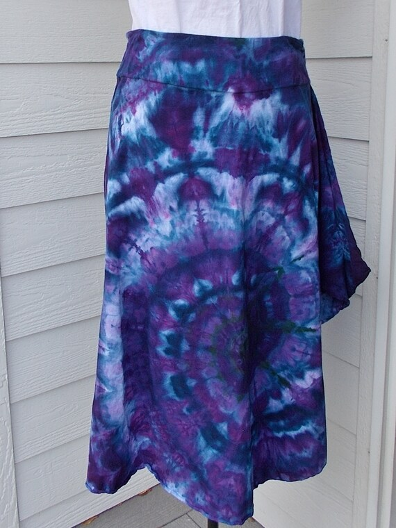 Medium Tie Dyed Ice Dyed Cotton Asymmetrical Skirt