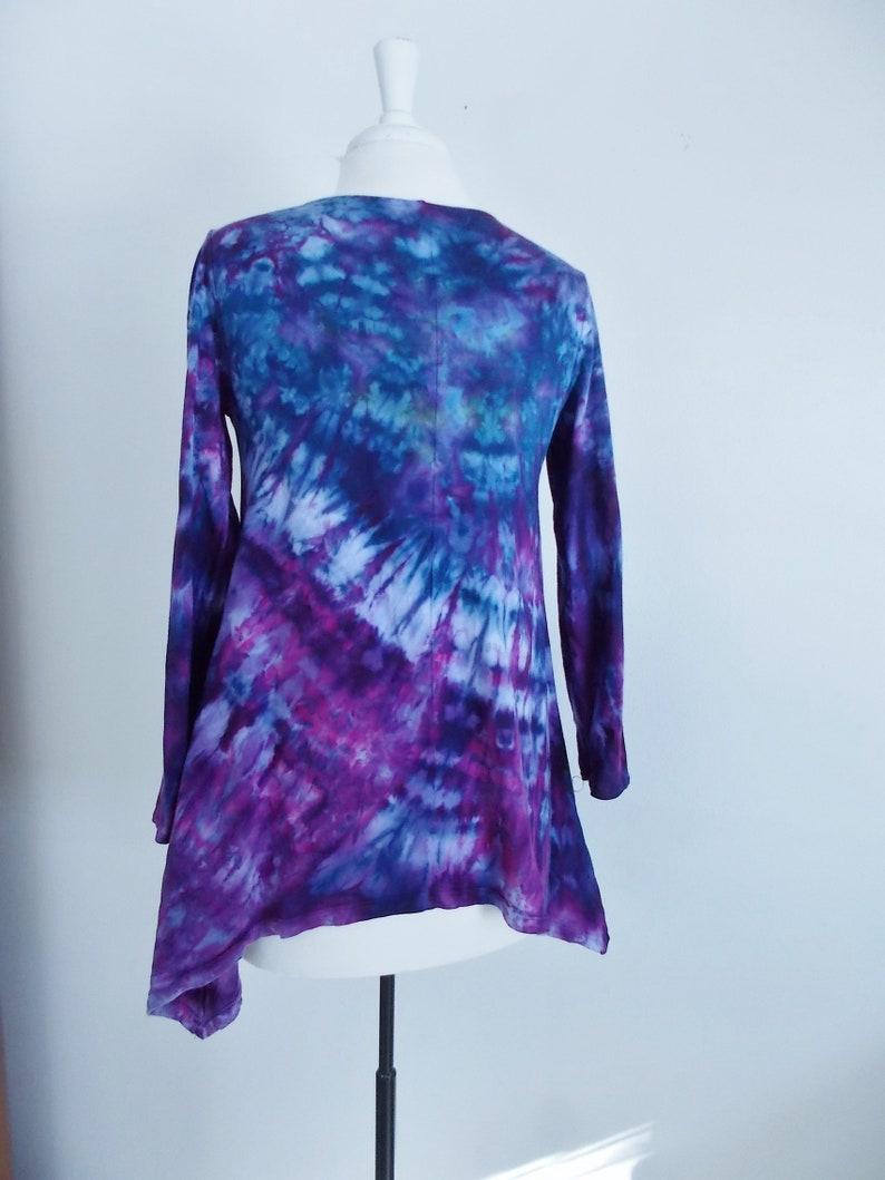 Small Hanky-hem tunic Ice dye tie dye Women/'s  Long Sleeve Cotton Shirt