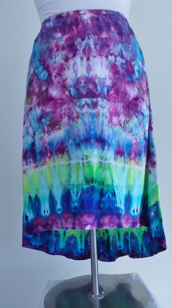 Tie Dyed Ice Dyed 2XL Cotton Hi Lo Skirt