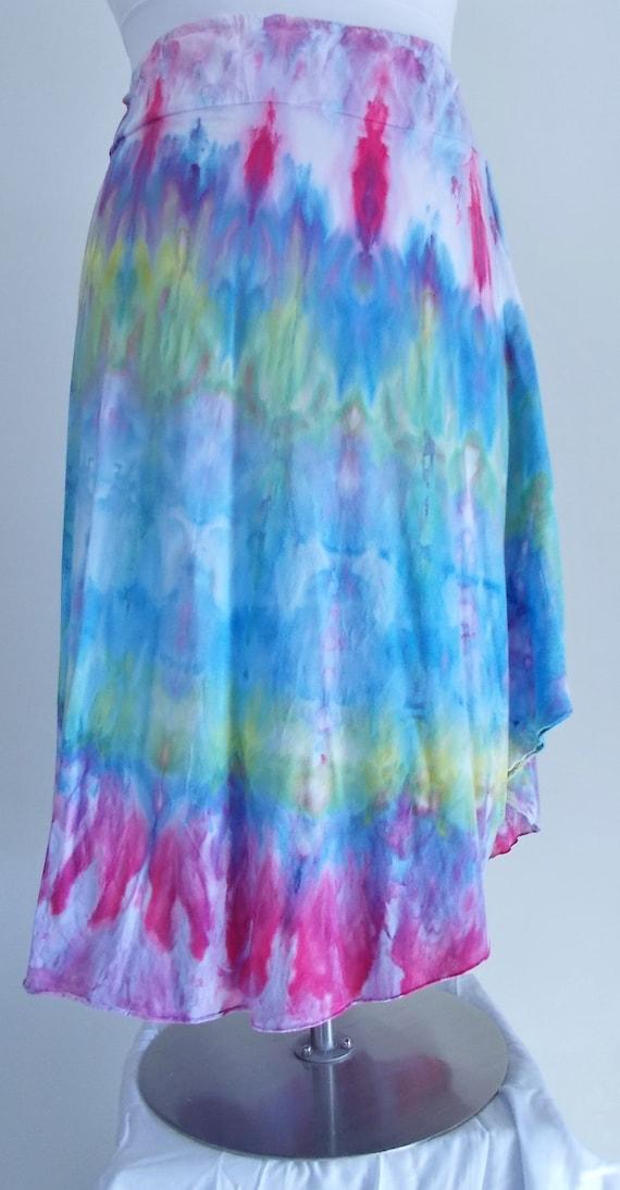 Tie Dyed Ice Dyed 2XL Cotton Asymmetrical Skirt