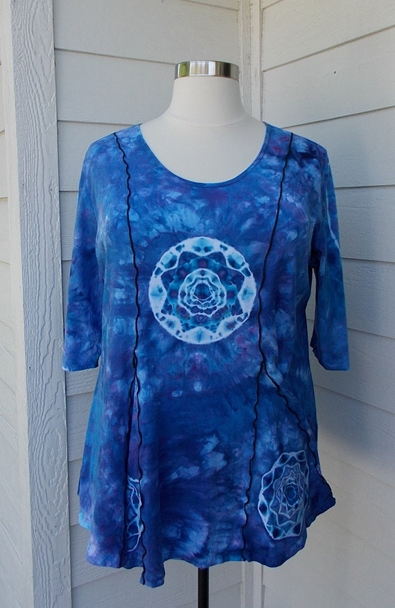 3XL Light Cotton Jersey Tunic Top with Lettuce Stitching