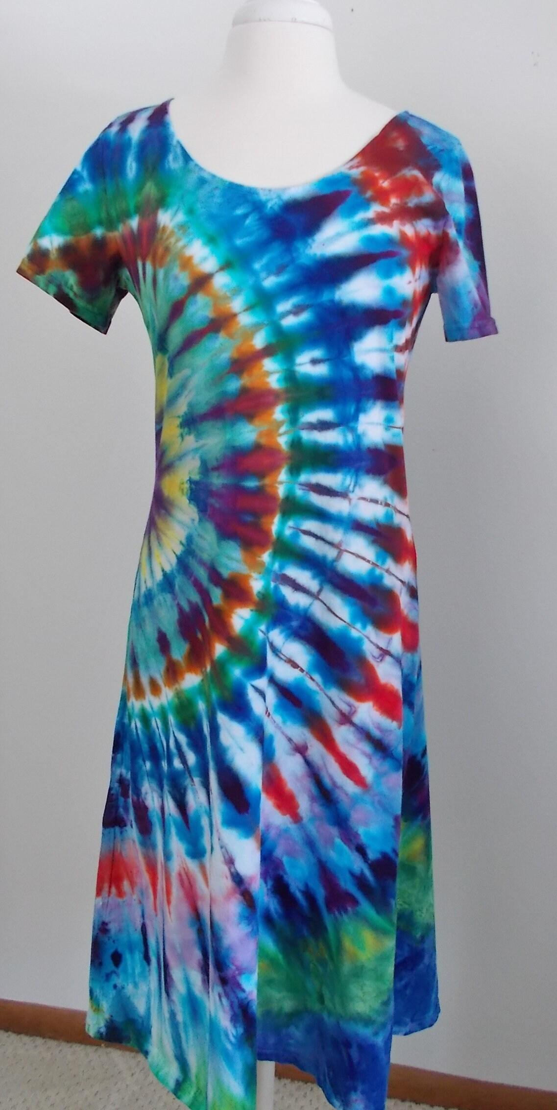 df26c6295a6 Ice dye tie dye Cotton Dress Medium short sleeve Multi