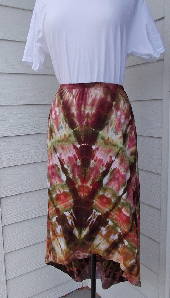 Tie Dyed Ice Dyed Small Cotton Hi Lo Skirt