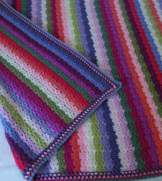 Crocheted Sweet Pea Blanket, Multicolor Afghan Throw