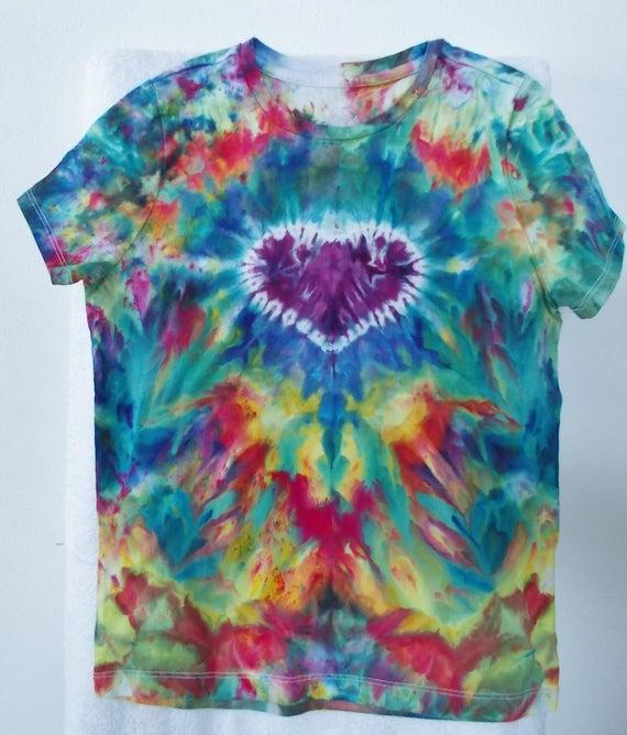 Tie Dye Girls Heart Shirt, Large Girls Tie Dye, Ice dyed girls shirts, Valentines Heart Shirts, Girls heart shirts