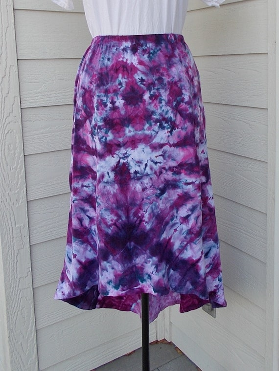 Tie Dyed Ice Dyed Medium Cotton Hi Lo Skirt