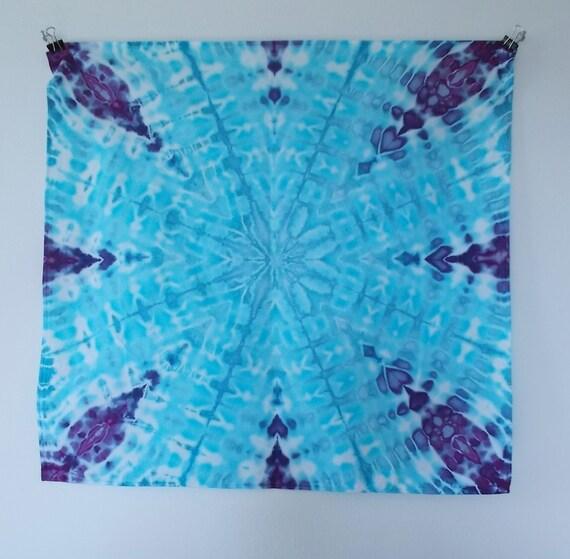 Cotton Bandana 20x20, tie dye ice dye bandana, tie dye hankerchief, tie dye napkin, dog bandana