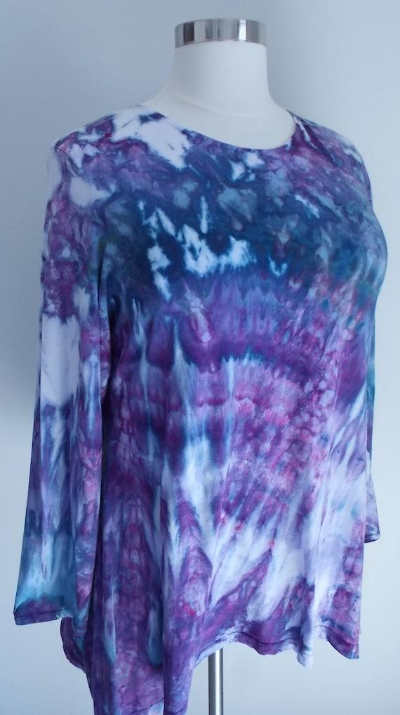 Hanky-hem Ice dye tie dye 2XL Women's  Long Sleeve Cotton Shirt