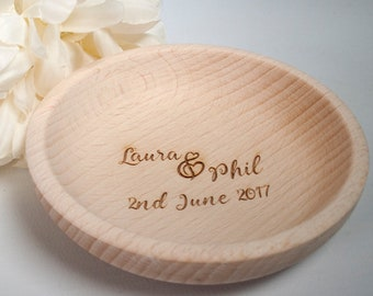 Personalised engraved ring bowl, ring dish made from beech wood. A keepsake trinket gift to celebrate a wedding, anniversary or engagement