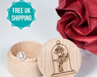 Wooden Ring Box Beauty and the Beast - Engraved Wedding Ring Box, Disney wedding, Disney proposal, Spring proposal, FREE UK SHIPPING
