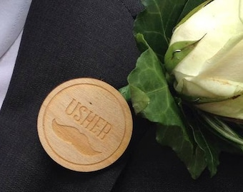 Usher Badge with elegant Moustache design engraved alternative buttonhole, or boutonniere wooden badge for the wedding party