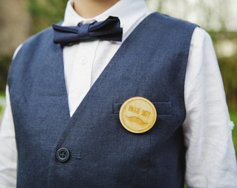 Page Boy Badge an Engraved wedding party badge or page boy gift alternative buttonhole, boutonniere, pin badge, for the page boy