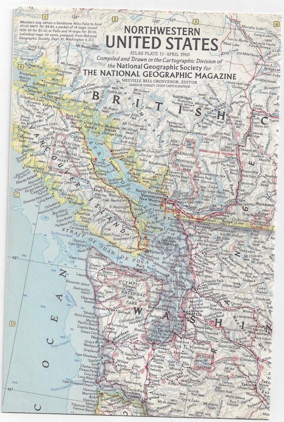 Vintage 1960 Northwestern United States National Geographic | Etsy