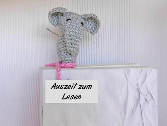 Ähnliche Artikel wie Lesezeichen Elefant Häkelanleitung- diy auf Etsy