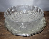 Vintage Crystal Candy Dish with Saucer by Echt Bleikristall Gepresst Dish and e.p. Brass BMF - Silverplated Tray